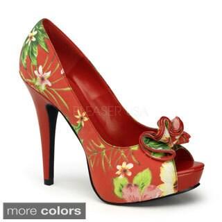 Pinup Couture Women's 'Lolita-10' Ruffled Toecap Peep-toe Pumps