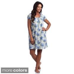La Cera Women's Cotton Floral-Print Chemise