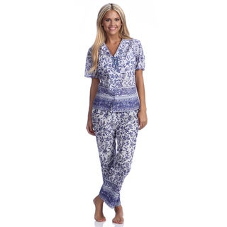 La Cera Women's White Printed Cotton Pajama Set