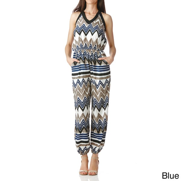 Stanzino Women's Smocked Multi-print Jumpsuit