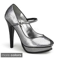 Pinup Couture Women's 'Pleasure-02G' Glitter Patent Mary Jane Pumps