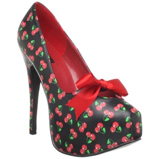 Pinup Couture Women's 'Teeze-12' Black Cherry Print Pumps