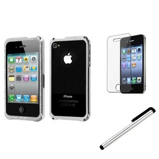 INSTEN Chrome Phone Case Cover/ Stylus/ LCD Protector for Apple iPhone 4/ 4S
