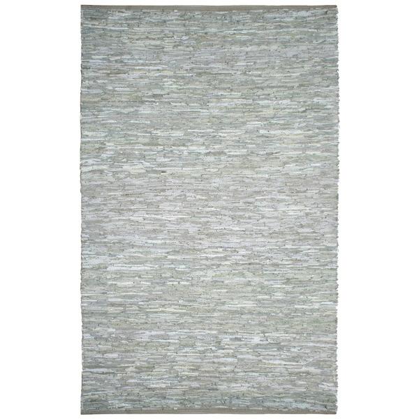 Hand-woven Matador White Leather Rug (10' x 14') - 10' x 14'