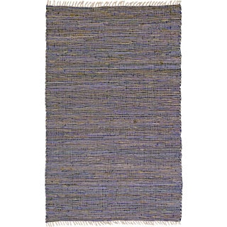 Hand-woven Matador Purple Leather and Hemp Rug (8' x 10')