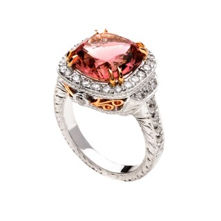 18k Two-tone Gold Pink Tourmaline and 1 1/6ct TDW Diamond Ring (G, VS2)