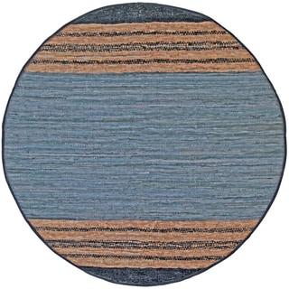 Hand-woven Matador Grey Leather Rug (6' Round)