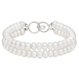 Pearlyta Sterling Silver White Freshwater Pearl Double-strand Bracelet (6-7 mm)