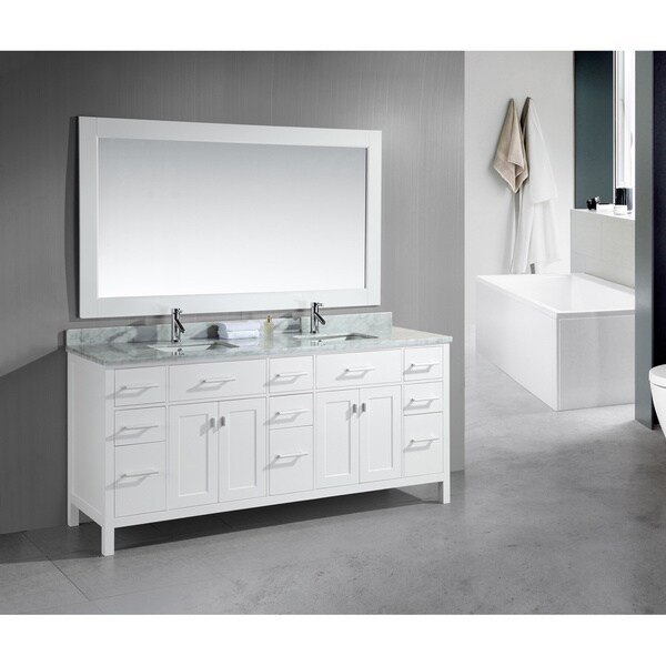 Shop design element london 78 inch double sink white vanity with white carrera marble top free for 78 double sink bathroom vanity