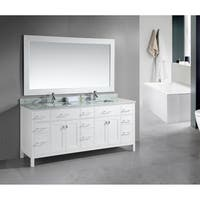 Design Element London 78-inch Double Sink White Vanity with White Carrera Marble Top