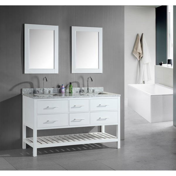 Shop design element london 60 inch double sink bathroom white vanity set on sale free for Caroline 60 inch double sink bathroom vanity set