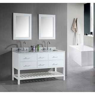 Design Element London 60-Inch Double Sink Bathroom White Vanity Set