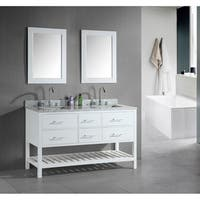 Design Element London 60-Inch Double Sink Bathroom White Vanity Set
