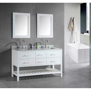 Design Element London 60 Inch Double Sink Bathroom White Vanity Set