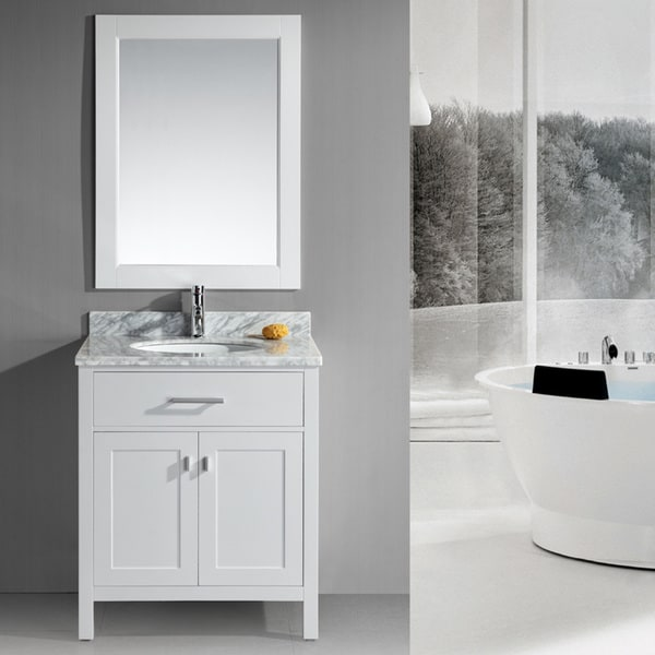 shop design element london 30 inch single sink white bathroom vanity set on sale free