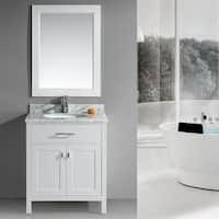 Design Element London 30-Inch Single Sink White Bathroom Vanity Set