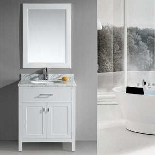 Design Element London 30-Inch Single Sink White Bathroom Vanity Set
