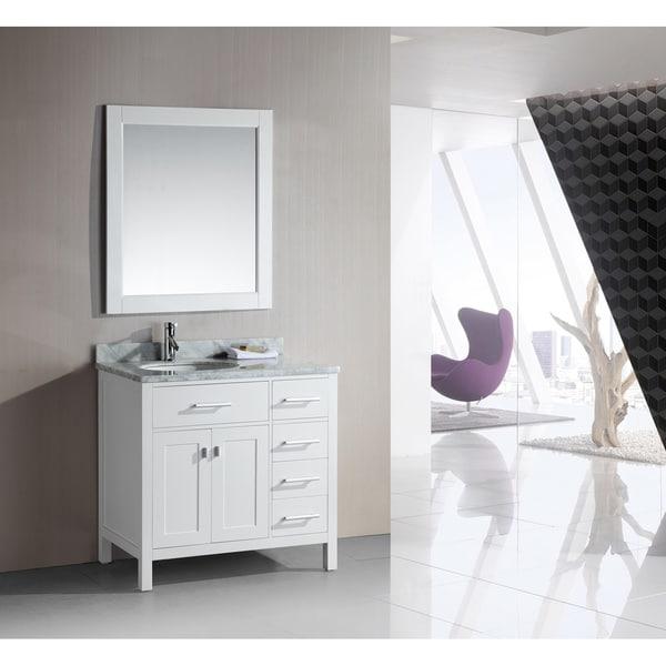 Design Element London 36 Inch Single Sink White Vanity Set with Right  Drawers. Design Element London 36 Inch Single Sink White Vanity Set with