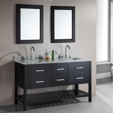 Design Element London 61-Inch Double Sink Espresso Bathroom Vanity Set