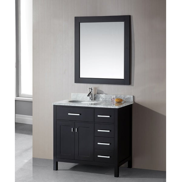 Shop design element london 36 inch single sink 4 drawer espresso vanity set free shipping for 36 inch espresso bathroom vanity