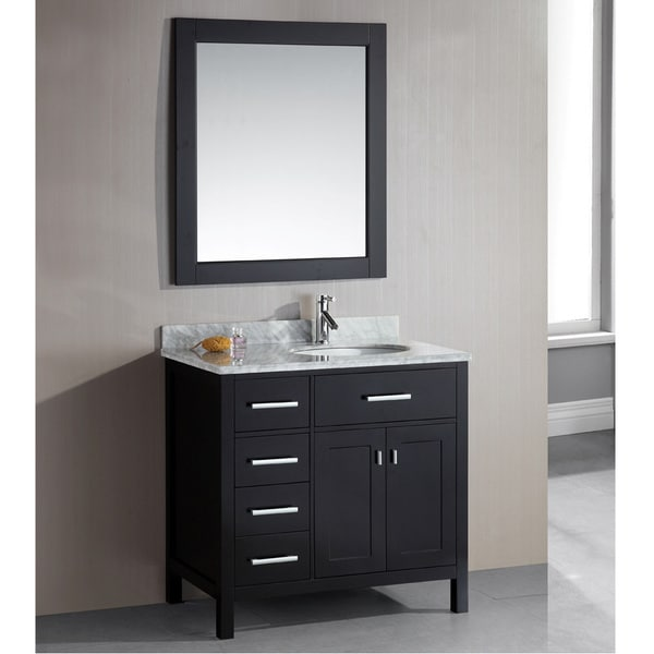 Design Element London 36-Inch Single Sink Espresso 4-Drawer Vanity Set