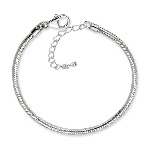 Silverplated Snake Chain Charm Bracelet - Silver