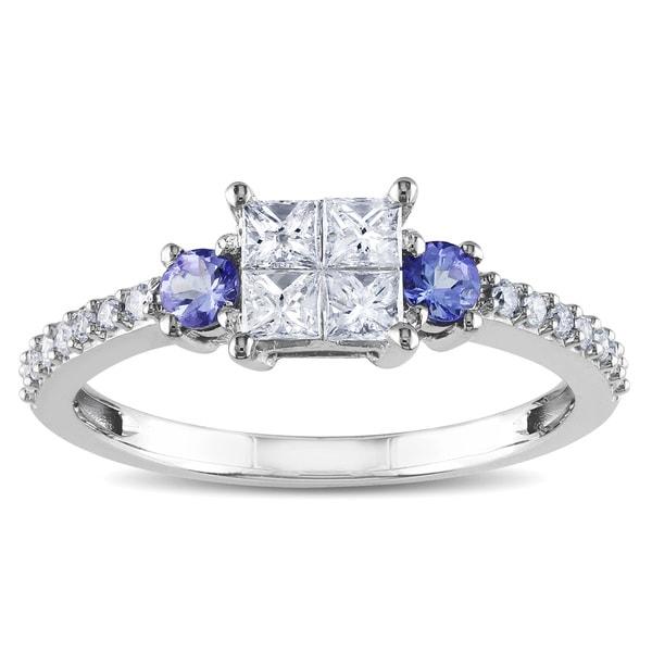 Miadora 14k White Gold 1/2ct TDW Diamond and Tanzanite Ring