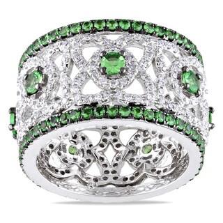 Miadora Signature Collection 14k White Gold 1 1/5ct TDW Diamond and Tsavorite Ring (G-H, SI1-SI2)