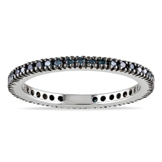 Miadora 10k White Gold 1/3ct TDW Blue Diamond Eternity Ring