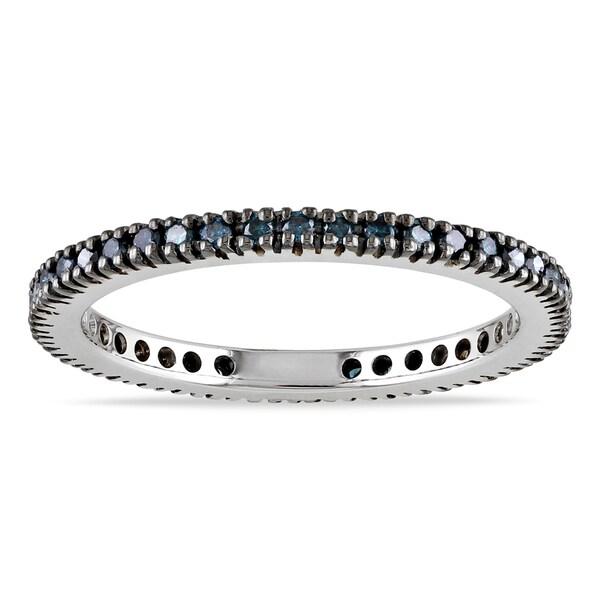 Miadora 10k White Gold 1/3ct TDW Blue Diamond Eternity Ring (I2-I3)