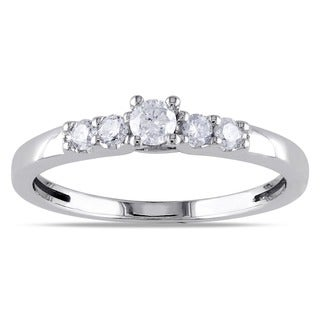 Miadora 10k White Gold 1/4ct TDW 5-Stone Diamond Ring