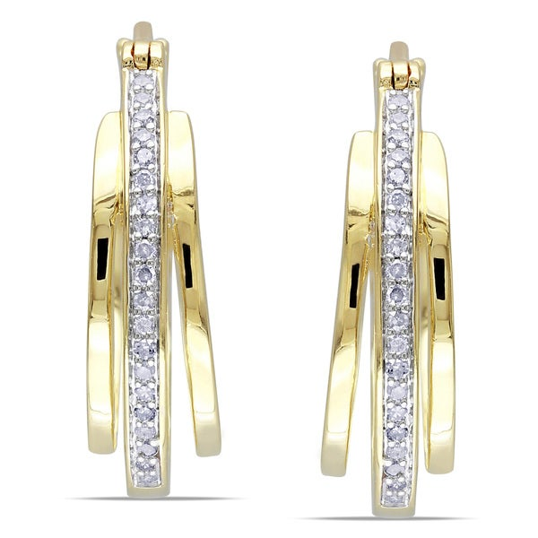 Miadora Yellow Plated Silver 1/5ct TDW Diamond Hoop Earrings
