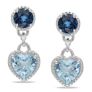 Miadora Sterling Silver Blue Topaz and Diamond Heart Dangle Earrings