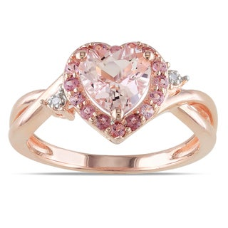 Miadora Rose Plated Silver Morganite, Tourmaline and Diamond Ring