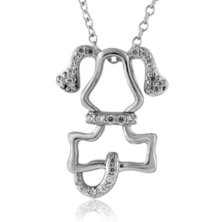 ASPCA Tender Voices Sterling Silver 0.16CTtw Dog Necklace (I-J, I2-I3)