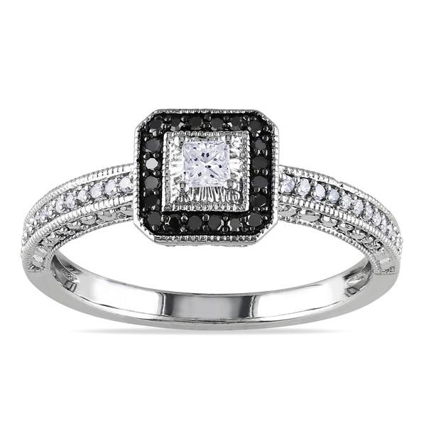 Miadora 10k White Gold 1/4ct TDW Black Halo White Center Diamond Ring