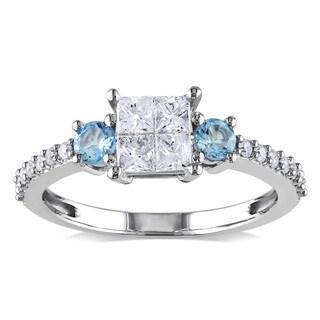 Miadora 14k White Gold 1/2ct TDW Diamond and Blue Topaz Ring