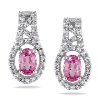 Miadora 10k White Gold Pink Sapphire and 1/4ct TDW Diamond Earrings (G-H, I1-I2)
