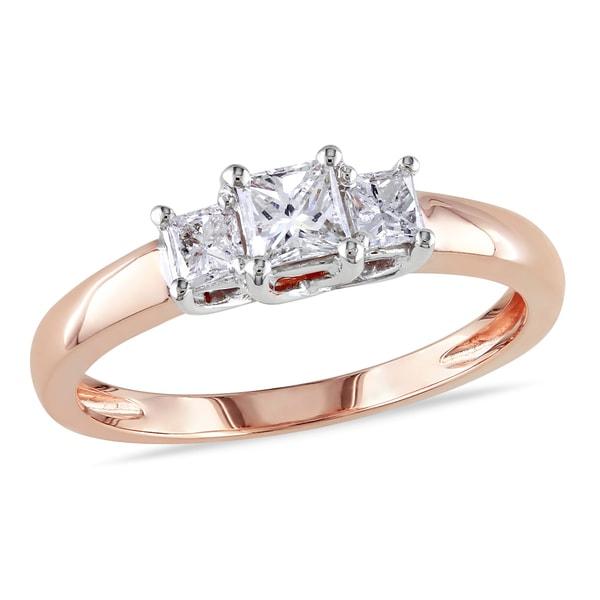 Miadora 14k Rose Gold 1/2ct TDW Diamond 3-Stone Ring (G-H, I1-I2)