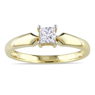 Miadora 10k Yellow Gold 1/3ct TDW Diamond Solitaire Ring (J-K, I2-I3)