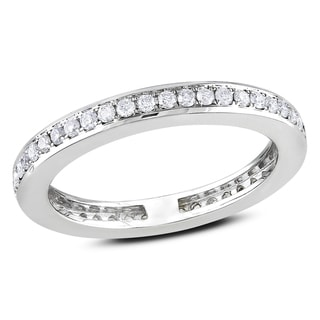 Miadora 14k White Gold 2/5ct TDW Diamond Eternity Ring