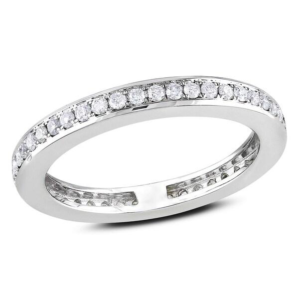 Miadora 14k White Gold 2/5ct TDW Diamond Eternity Ring (G-H, SI1-SI2)