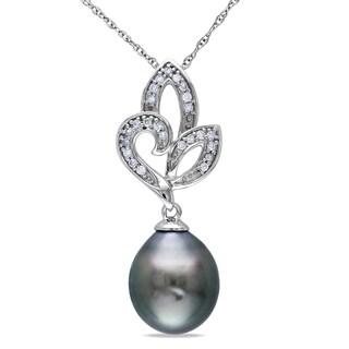 Miadora 10k White Gold Black Tahitian Pearl and Diamond Necklace (9-9.5 mm)