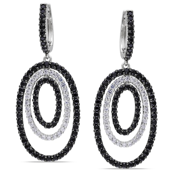 Miadora Sterling Silver Black Spinel and Created White Sapphire Dangle Earrings