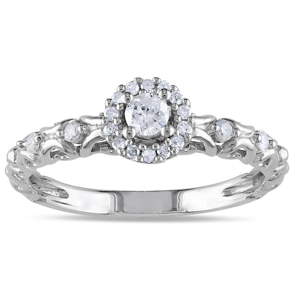 Miadora Sterling Silver 1/4ct TDW Diamond Halo Stackable Engagement Ring