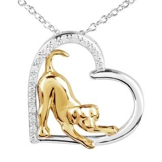 ASPCA Tender Voices Silver 1/10ct TDW Diamond Dog Heart Necklace (I-J, I2-I3)