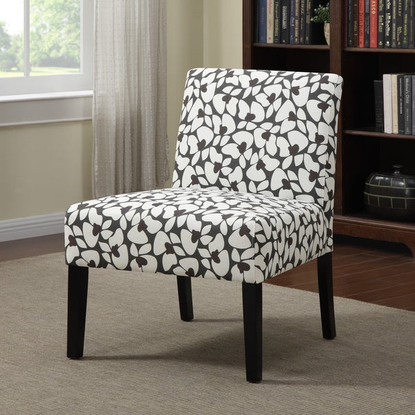 Portfolio Niles Charcoal Gray Modern Floral Armless Accent
