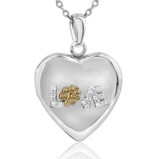 ASPCA Tender Voices Sterling Silver with Yellow Plate Diamond Accent Love Paw Locket