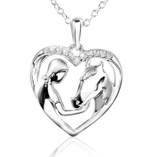 ASPCA Tender Voices Silver Diamond Accent Lady and Horse Heart Necklace