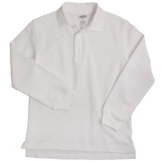 French Toast Boys Long Sleeve White Pique Polo Shirt